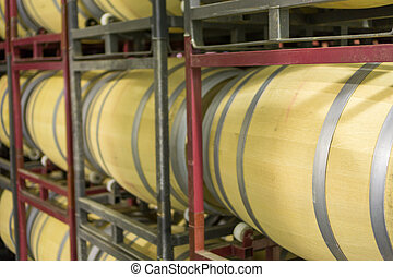 Side view of wine cellar with casks