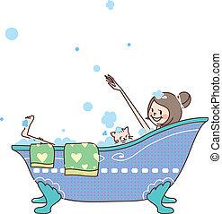 side view of woman in bathtub