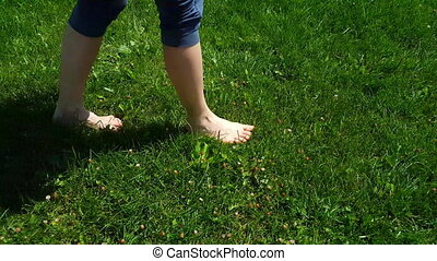 Side view of woman legs in blue tights walking slowly on barefoot on green grass in a park on a sunny summer day. Freedom and healthy life concept.