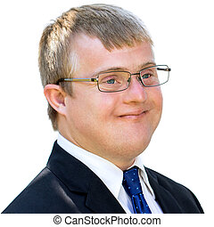 Side view of young businessman with down syndrome.