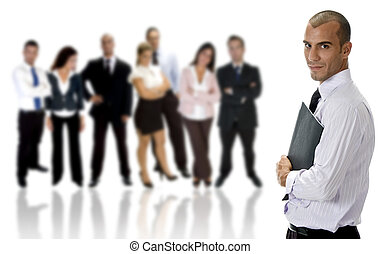 side view of young businessman with folder and group