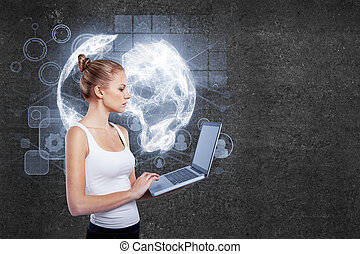 Online business concept - Side view of young businesswoman...