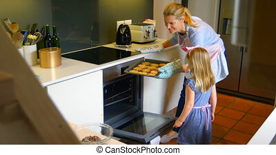 Side view of young Caucasian mother and daughter baking cookies in kitchen at home 4k