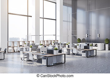 Side view on eco style minimalistic open space office with wooden tables, huge windows and white furniture