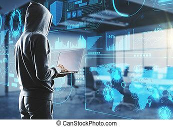 hacker in process with laptop - side view on hacker in...