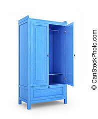 side view on wooden cabinet with open door, isolated on white background. 3d illustration
