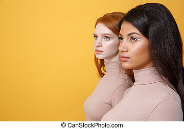 Side view picture of serious young two ladies