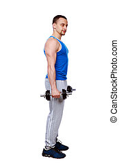 Side view portrait of a man standing with dumbbells over white background