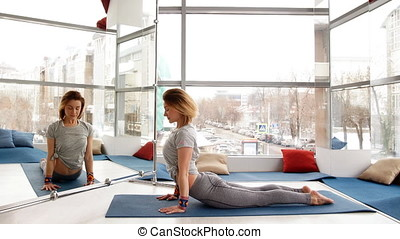 Side view portrait of beautiful young woman doing yoga or pilates exercise.