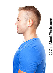 Side view portrait of young man