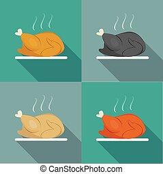 Side view, Roast Whole chicken, Turkey, Duck