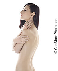 side view shot of a sexy model