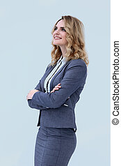 smiling business woman looking on copy space.