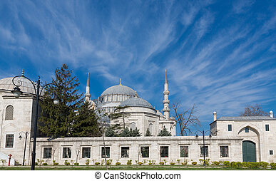 Side view Suleymaniye Mosque and blue sky in Istanbul