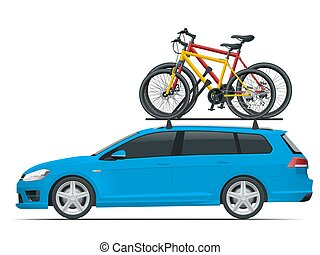 Side view suv car with two bicycles mounted on the roof rack. Flat style vector illustration isolated on white background.