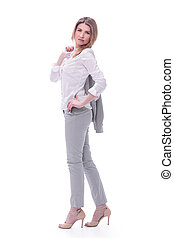 young business woman with a jacket over her shoulder. isolated on white