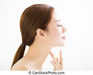 side view young smiling woman with clean face