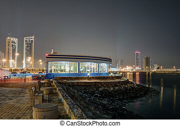 Side walk cafe at the corniche in Manama, Bahrain, Middle East