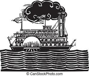 Side wheel Riverboat in waves - Woodcut style side wheel...