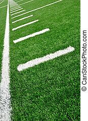 sideline, ligado, futebol americano, campo