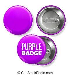 sides., ピン, mockup, 紫色, 決め付けること, ボタン, 背中, イラスト, ブローチ, 現実的, デザイン, 2, vector., ビュー。, バッジ, 前部, blank., 3d