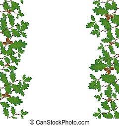 sides., 両方とも, 容積測定, ブランチ, gradient., オーク, ドングリ, 隔離された, イラスト, バックグラウンド。, なしで, 緑, 格子, 白, 図画