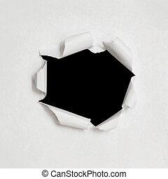 sides., eps10, illustration., strappato, business., struttura, carta, realistico, vettore, fondo, buco, bianco