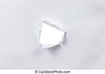 sides., folha, papel rasgado, buraco, branca