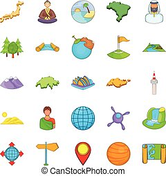 Sides of the world icons set, cartoon style