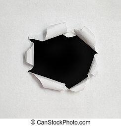 sides., trou, papier déchiré