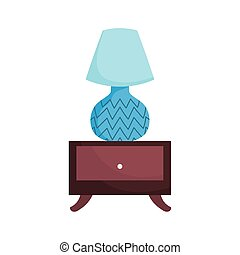 sidetable with lamp decoration isolated icon on white background