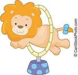 sideview, aro, circo, león, saltar, por