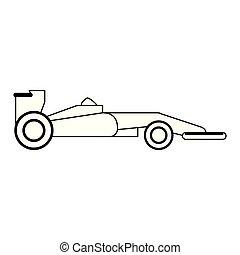 sideview, coche, 1, negro, fórmula, blanco
