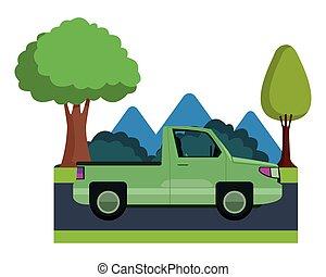 sideview, csipeget taliga, jármű, karikatúra