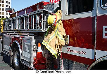 sideview, de, firetruck