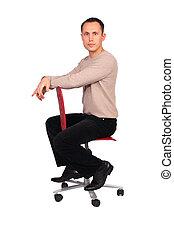 sideview, joven, silla, se sienta, rojo, hombre