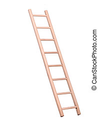 Sideview of a wooden ladder holded by human hand
