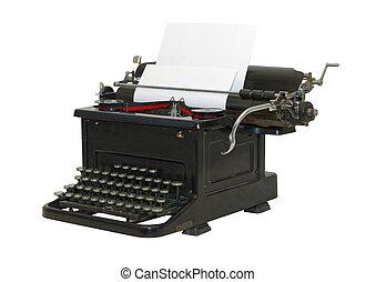 sideview, viejo, -, aislado, frente, máquina de escribir