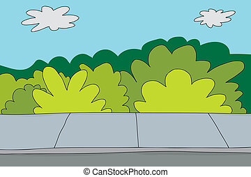 Cartoon background of sidewalk and bushes