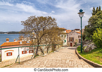 Sidewalk at Adriatic sea in Rovinj town, Croatia, Europe.