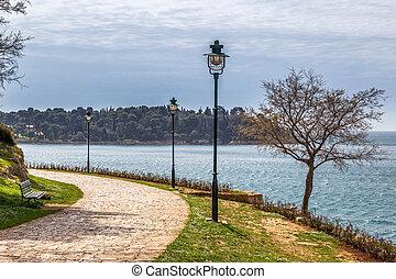 Sidewalk at Adriatic sea, Rovinj town in Croatia, Europe.