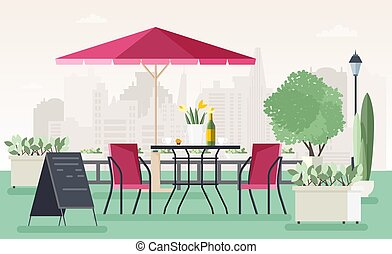 Sidewalk cafe or restaurant with table, chairs, umbrella,...