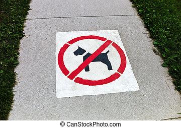 sidewalk, dogs prohibited