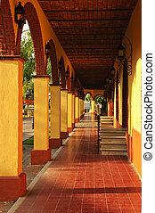 Sidewalk in Tlaquepaque district, Guadalajara, Mexico -...