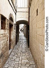 Sidewalk in Trogir - Croatia.