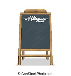 Sidewalk outside menu board with wooden border for breakfast isolated on white background