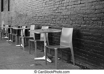 Sidewalk Seating - Black and white image of brushed aluminum...