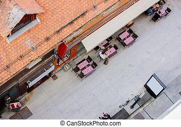 Sidewalk street cafe in Ljubljana in Slovenia