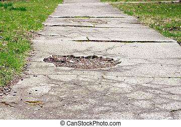 Sidewalk Worn - Cracked sidewalk with pothole in need of...