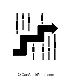 sideways - finance analysis icon, vector illustration, black...